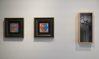 """Зліва направо: """"Портрет Пікассо"""" і """"Портрет Хлєбнікова"""" Бориса Косарева; """"Зауваження про архіви"""" Микити Кадана"""