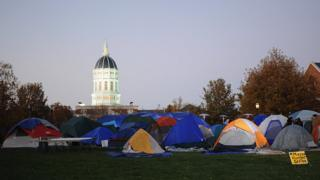 Protesters have set up a tent city on campus