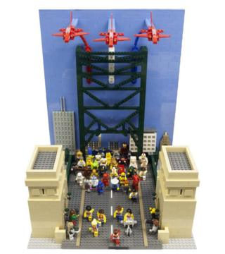 Lego model of the Great North Run with the Tyne Bridge and Red Arrows
