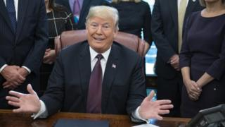 US President Donald J. Trump gestures during the signing of the Cybersecurity and Infrastructure Security Agency Act in the Oval Office of the White House in Washington, DC, USA, 16 November 2018.
