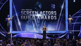 Kristen Bell on stage at the 2018 Screen Actors Guild Awards