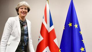 British Prime Minister Theresa May arrives for a bilateral meeting with European Council president during an EU summit in Brussels on October 20, 2017.