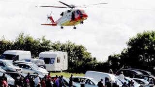Helicopter at races