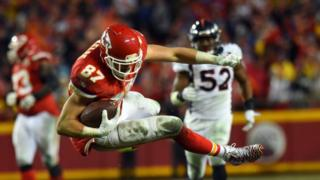 Tight end Travis Kelce #87 of the Kansas City Chiefs in action v Denver on Christmas Day 2016