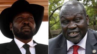 South Sudan's president, Salva Kiir, and rebel leader Riek Machar