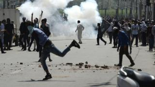 Protesters clash with security forces at the funeral of Kaiser Bhat - 2 June
