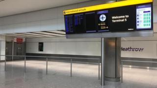 Empty Heathrow arrivals