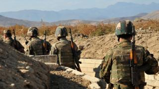 Armenian troops in Nagorno-Karabakh trench, file pic