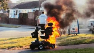 Mobility scooter on fire