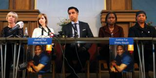 Lawyer Aamer Anwar leads a news conference with Sheku Bayoh's loved ones, 14 May 2015