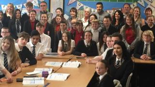 Pupils at the school with Danny Boyle and Lily James in the back row