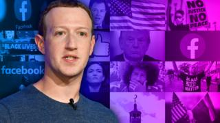 Technology Mark Zuckerberg stands in front of a collage of images of newsworthy controversies or the people n them