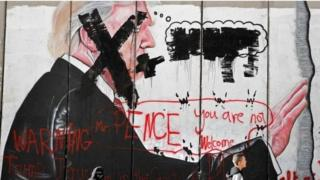 """""""Pence you are not welcome"""", says graffiti in the West Bank city of Bethlehem"""