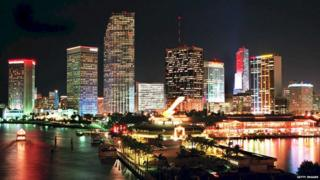 The Miami skyline seen lit up at night