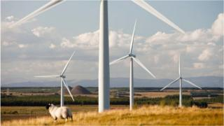 Wind farm near Carluke in Scotland
