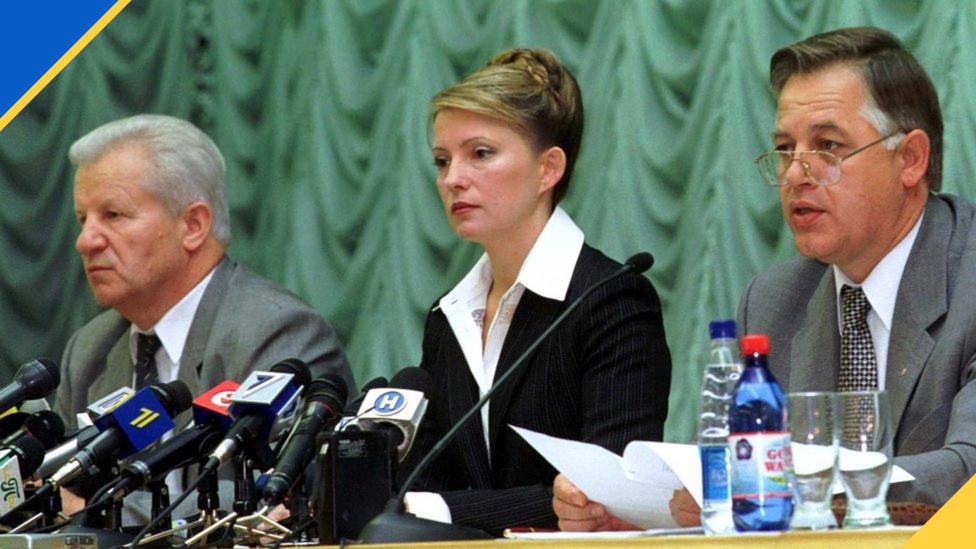 Лідери опозиційних партій у 2002 році - Олександр Мороз (СПУ), Юлія Тимошенко (БЮТ) та Петро Симоненко (КПУ)