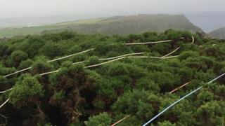 Coastguard rope rescue equipment was deployed from the top of the 150ft cliff above the path