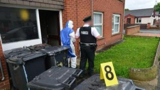 Police at the scene in Newtownards