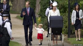 Cambridges arrive for Prince Charlotte's christening