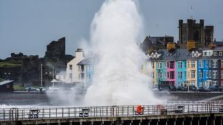 Waves lash Aberystwyth seafront