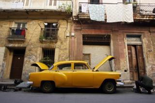 Yellow car in Havana