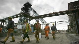 Miners at Hatfield Colliery