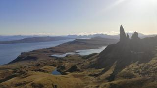 A view of Old Man of Storr towards Rona and Apple Ross.