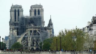 Image shows a general view of Notre-Dame cathedral following a major fire