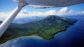 An aerial view of one of Vanuatu's islands
