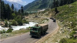 An Indian army convoy makes way towards Leh, bordering China.
