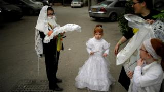 Kids from Israel celebrating Purim