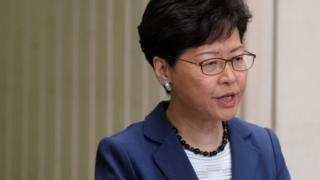 Hong Kong Chief Executive Carrie Lam attends a news conference in Hong Kong on June 10