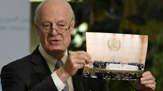 UN's special envoy to Syria Staffan de Mistura held up a picture of the opposing sides meeting in the same room, at the start of the talks