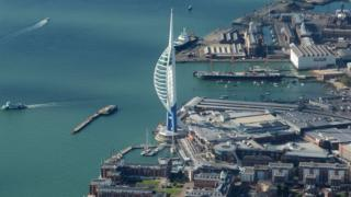 Spinnaker Tower from the air