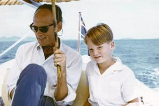 Mark Colvin, aged 7, with his father, off the south coast of Malaysia in 1959