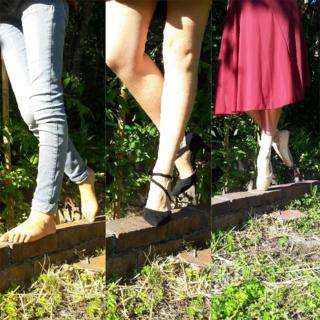 Montage of legs on a wooden beam
