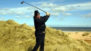 Donald Trump at Aberdeenshire dunes