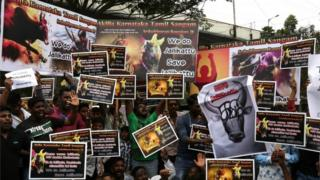 Members of Tamil organizations, students, and supporters hold placards, during a protest held to demand the lift of the ban on the bull-taming sport Jallikattu in Chennai, Tamil Nadu, India, 21 January 2017.