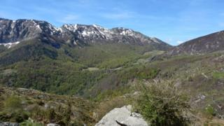 Field site in Pyrenees mountains
