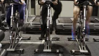 High intensity bike exercisers in a gym