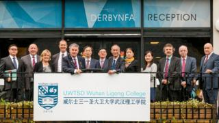 A delegation visiting Swansea from Wuhan