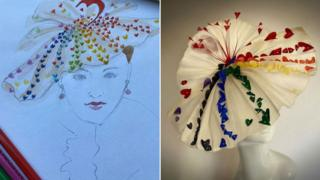 Rainbow hat design by milliner Judy Bentinck