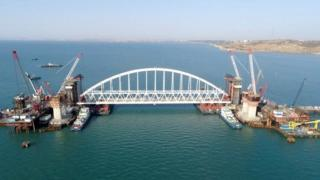 Railway arch construction on Kerch bridge