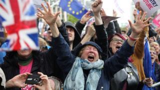 Протестующие встретили поражение Джонсона в парламенте ликованием