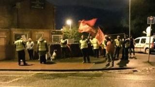Striking Arriva drivers in Castleford