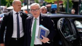President of the European Commission Jean-Claude Juncker arrives at a European People