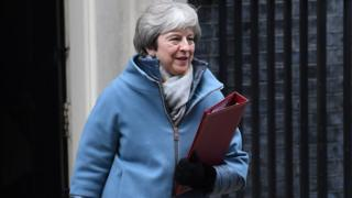Theresa May leaving Downing Street on 21 January 2019