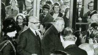 Harold Wilson officially opening the library in 1974