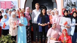"Prince Harry and Meghan pose with staff and girls as they visit a boarding house for girls run by the Moroccan NGO ""Education for All"" in Asni, Morocco"