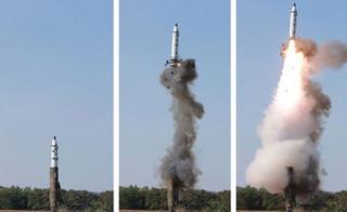 朝鮮労働党中央委員会の機関紙「労働新聞」は21日、ミサイル発射の3段階だという写真を掲載した